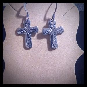 925. Stamped cross earrings